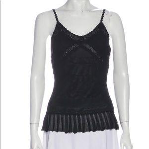 CHANEL size 42 black viscose lace & pleats camisol